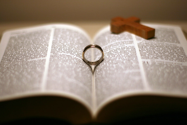 Wedding Ring Bible Cross