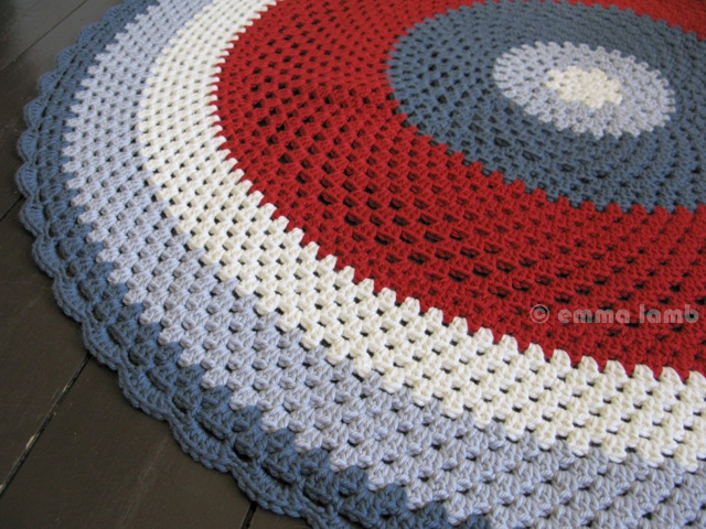 Arnold, original crochet 'floor throw' in classic red, white and blue by Emma Lamb