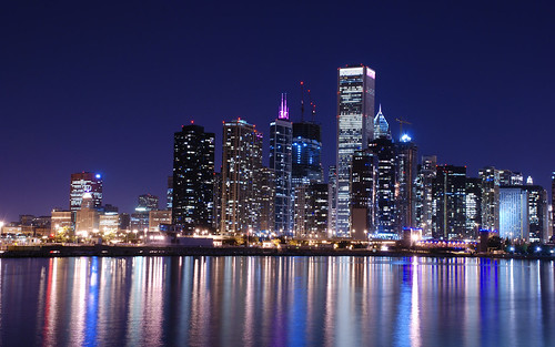 Chicago Skyline at Night Reflected