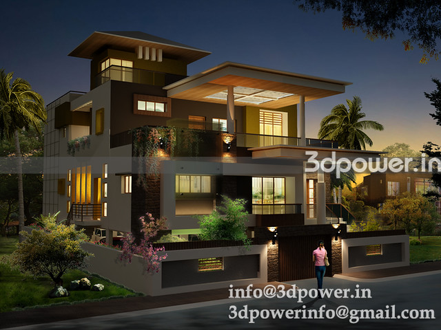 bungalow_www.3dpower.in_night view bungalow_contempary