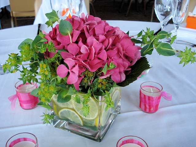 Pink hydrangea and lime centerpiece flickr photo sharing