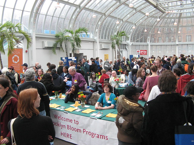 Networking and exhibitors in the Palm House during making Brooklyn Bloom 2010.