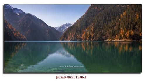 china park autumn mountain lake colour reflection nature pine landscape exposure altitude reserve unesco sichuan tarn jiuzhaigou hdr province blend waterscape everlook