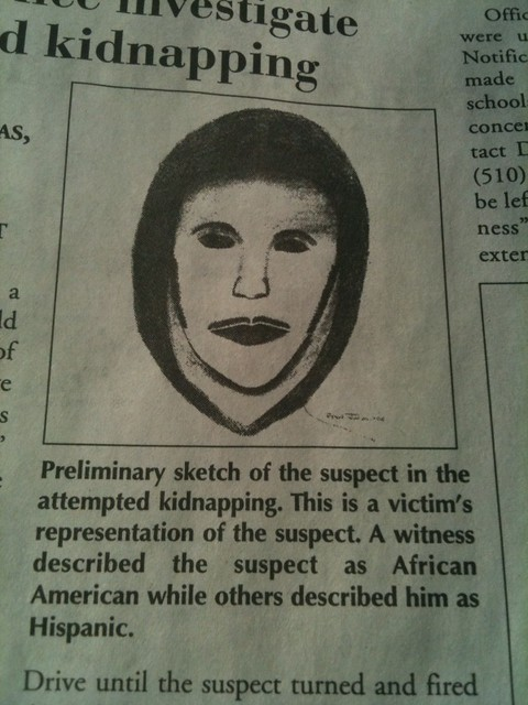 Police sketch fail! Careful everyone, there's an alien ghost kidnapper on the loose.