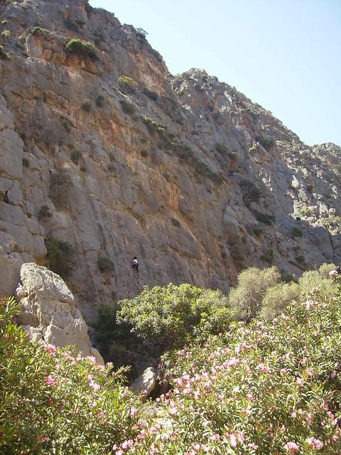 Someone climbing on Gorge Agiofaraggo