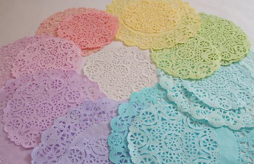 A rainbow of doilies