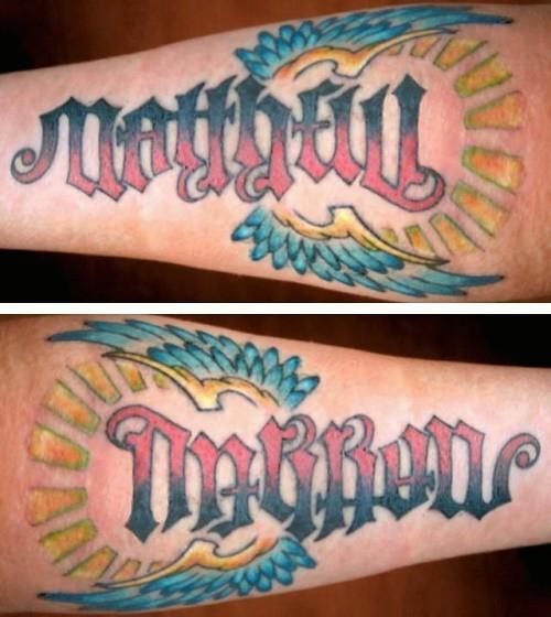 """Color Tattoo By Matt From Black Sails Tattoo: """"Matthew"""" & """"Darron"""" Ambigram Tattoo"""