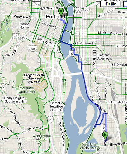 Google Maps Bicycling Directions  Explore Portland Afoot