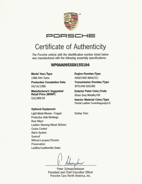 porsche certificate authenticity coa