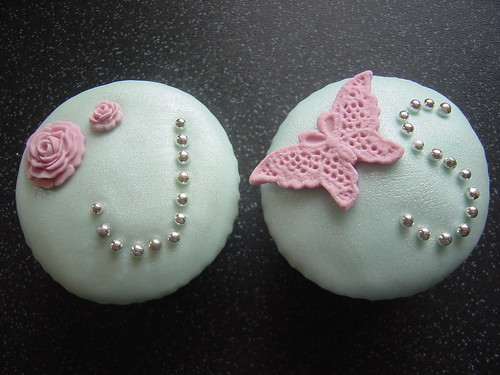 Shabby Chic Wedding Cupcakes by FrostedCupcakes