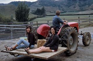 Pauline with Dot and Mike Howse, Taranaki, New Zealand, 1970