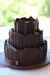 Three tier nude chocolate cake