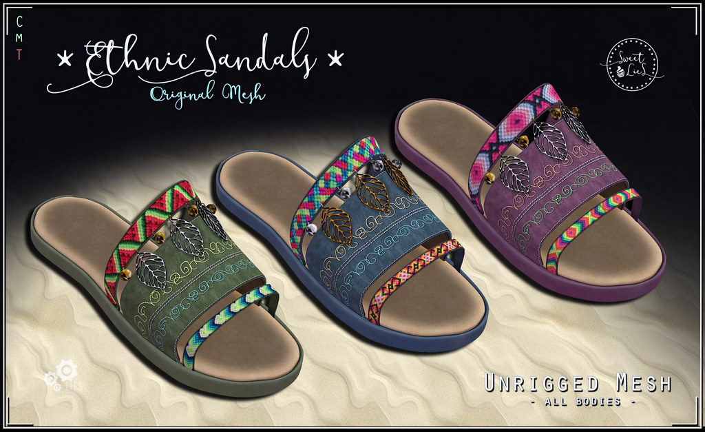 Ethnic Sandals Flip Flops Pack #3 - Sweet Lies Original - SecondLifeHub.com
