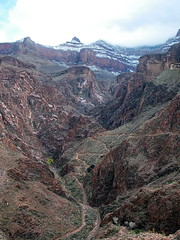 Snow above Devil's Corkscrew - Bright Angel Trail - Grand Canyon