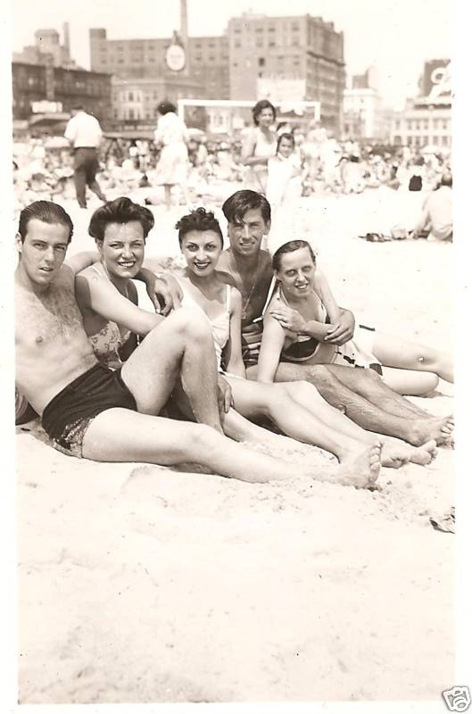 1930s men women shirtless 2 piece speedo swim suits trunks beach a