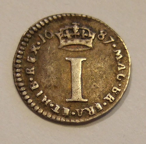ENGLAND, JAMES II 1687 ---MAUNDY MONEY, ONE PENCE a