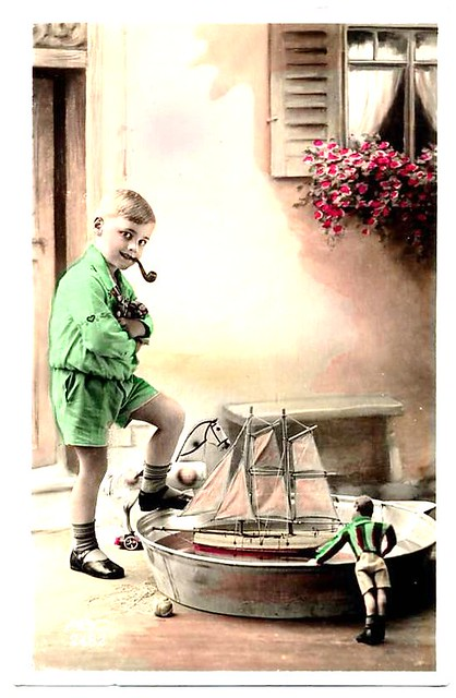 Vintage Dutch postcard smoking boy model sailboat tub ...: http://www.flickr.com/photos/pondyacht/4231116923/