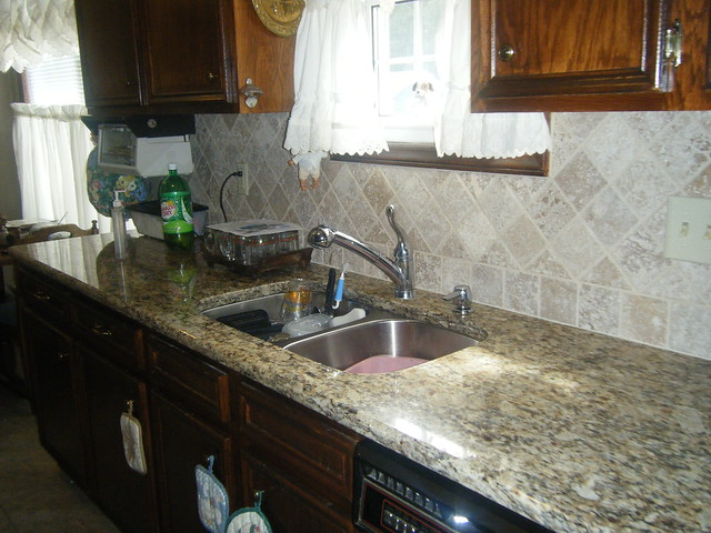 Santa Cecilia Granite Countertops With Tile Backsplash In Charlotte Flickr Photo Sharing