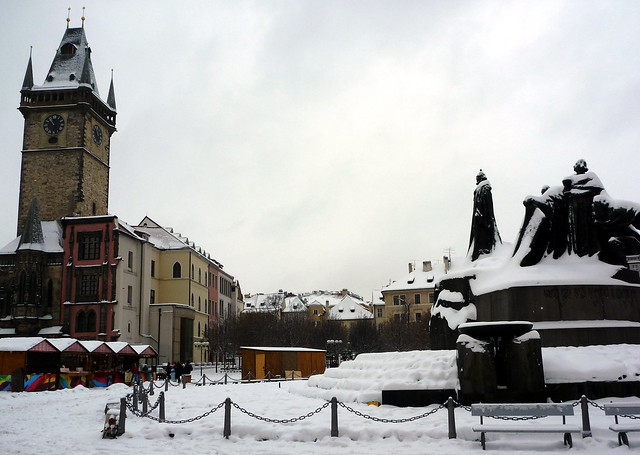 Snow in Prague Old Town