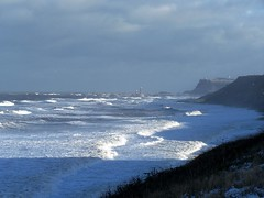 Sandsend, snow and big sea's.