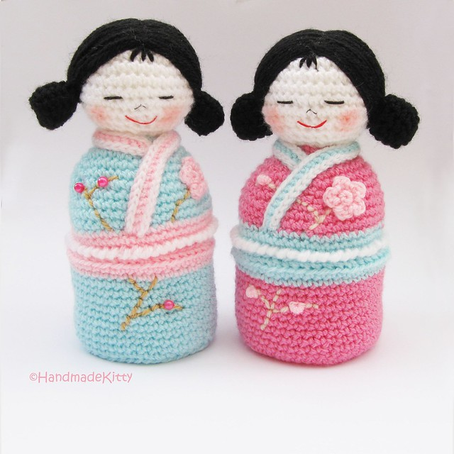 Japanese Kokeshi Girls Jewelry Box Amigurumi Crochet Pattern  U2665