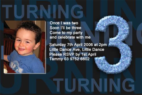 Boys 3rd Birthday Party Invitations