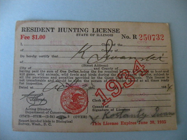 Kostanty gust iwanski 39 s 1934 illinois hunting license for Fishing license illinois