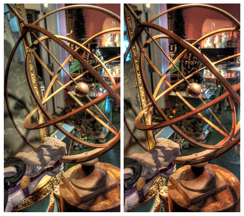 urban sculpture stereoscopic stereophotography 3d crosseye upstate saratogasprings sundial handheld chacha depth hdr 3dimensional crossview crosseyedstereo 3dphotography 3dstereo armillaryspheresundial spheresundial