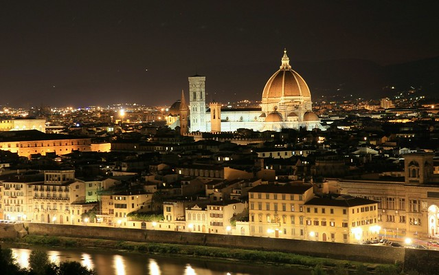 Florence at night by flickr user eblaser