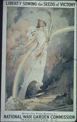 Liberty Sowing the Seeds of Victory. Write for Free Books to National War Garden Commission, Washington, D.C. Charles Lathrop Pack, President. P.S. Ridsdale, Secretary. ca. 1917 - ca. 1919