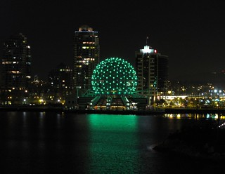 Science World in Vancouver lit Green for Earth Day