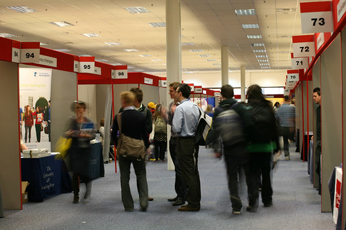 Conference zone planning allows for wide thoroughfares and spacious stand areas.