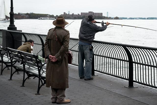 Fishing the hudson battery park city esplanade new york for Fishing in new york city