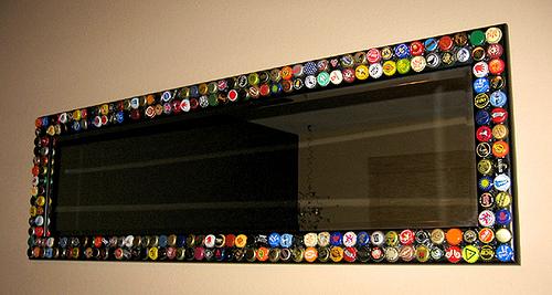 Diy five easy bottle cap crafts broke ass stuart 39 s website - Como decorar un espejo ...