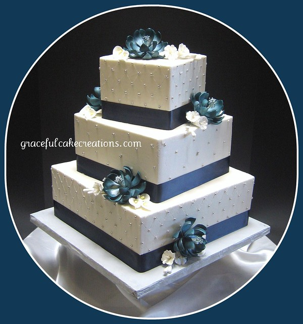 Blue and White Square Wedding Cake Navy blue teal and silver were the