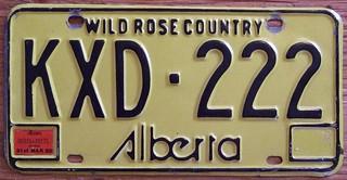 "ALBERTA 1979. (EXP 31st MAR 80) ---PASSENGER PLATE ""AB 222 SET"""