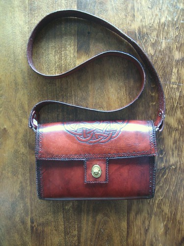 SOLD handtooled leather handbag with Celtic design…