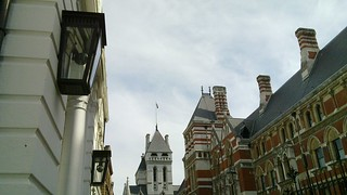 Old and new: lamps and CCTV (and Royal courts of Justice)