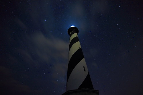 Hatteras Lighthouse, clouds and stars