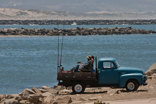 Fishing from the back of an old pickup.  Morro Bay Scenes on Father's Day 20 June 2010, Morro Bay, CA