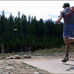 Daniel West floats a drive at hole #1 Leadville, Colorado during the 2002 Pawnee Gulch Classic