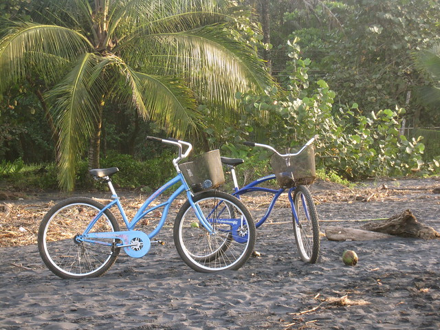 Bicycles near the black sand beach of Puerto Viejo