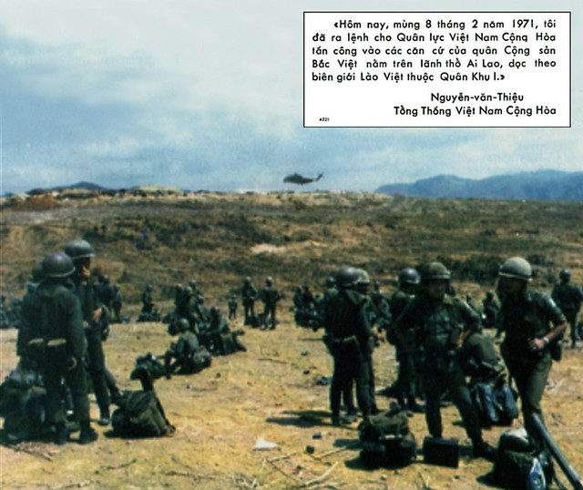 South Vietnamese troops waiting for helicopters to be lifted to the front