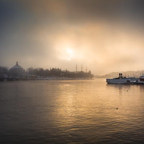 city morning sky cloud sun mist lake reflection water fog ferry skyline clouds sunrise reflections boats boat town ship sweden stockholm ferries skeppsholmen strömmen skeppsbron afchapman stockholmsström