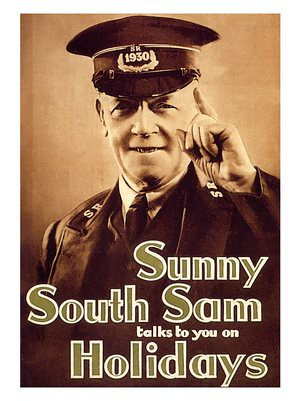 sunny south sam rail travel poster 1930s
