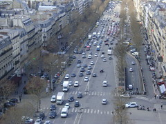Very busy Paris streets