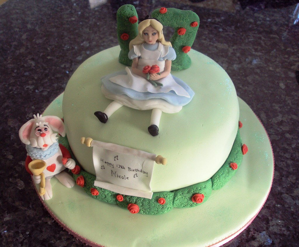 This alice in wonderland cake was for nicole on her 17th birthday