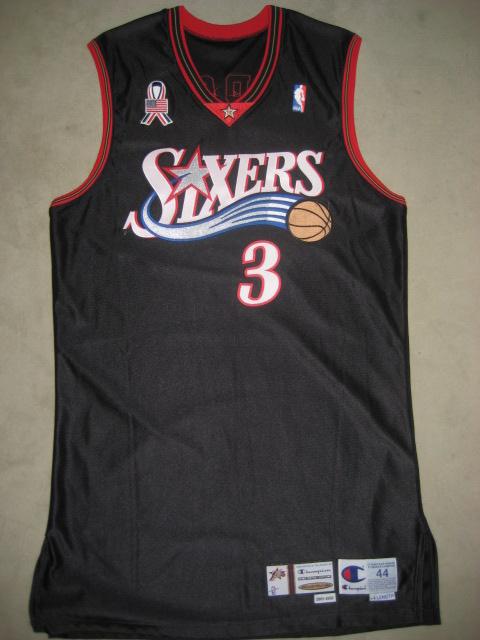 ... Allen Iverson 2001 02 Philadelphia 76ers Game Worn Jersey  bede04cbe