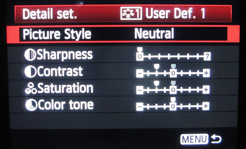 User Defined 1 Picture Style Canon