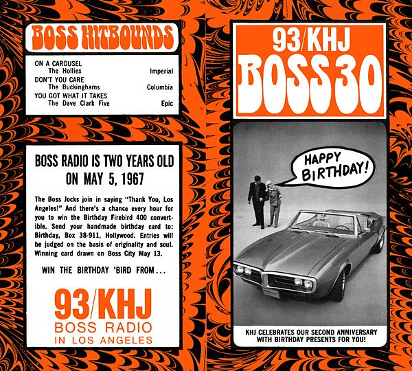 1967 Apr 26 - Issue #95 - The Birthday Firebird promotion begins as KHJ prepares to celebrate its second anniversary as Boss Radio.